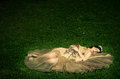 Sleeping beauty lays grass image has attached release Royalty Free Stock Image