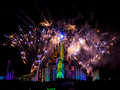 Sleeping beautys castle at disneyland paris during illuminated by projections and surrounded by fireworks and fountains the th Stock Images