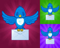 Sleeping Bird flying with envelope mail Stock Image