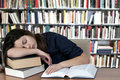 Sleeping on the books Royalty Free Stock Images