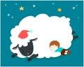 Sleeping boy with fluffy sheep . Royalty Free Stock Photo