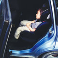 Sleeping in car child after long trip Royalty Free Stock Photos