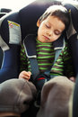 Sleeping in car seat Stock Photo