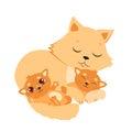 Sleeping Cat And Kitten. Sweet Kitty Cartoon Vector Card. Royalty Free Stock Photo