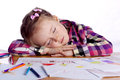 Sleeping child - an artist with sketch Royalty Free Stock Photo