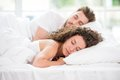 Sleeping couple in the bed Royalty Free Stock Photo