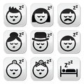Sleeping dreaming people faces buttons set vector of isolated on white Royalty Free Stock Photo