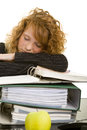 Sleeping on files Royalty Free Stock Photography
