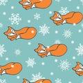 Sleeping Fox and snowflake seamless pattern Royalty Free Stock Photo