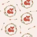Sleeping Fox In A Wreath Seaml...