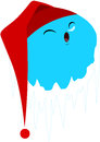 Sleeping frozen planet with red hat a vector illustration of a cute blue Royalty Free Stock Photo