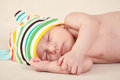 Sleeping gently baby close up Stock Images