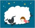 Sleeping girl with fluffy sheep . Royalty Free Stock Photo