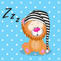 Sleeping lion in a cap Stock Images