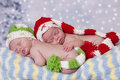 Sleeping little elves twin baby girls and wearing elf hats winter themed portrait Stock Photography