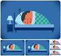 Sleeping man cartoon illustration of in versions no transparency and gradients used Royalty Free Stock Photos