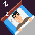 Sleeping man. Snoring man in modern flat style for web banners a