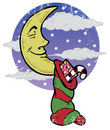 Sleeping moon on Christmas eve night illustration Stock Images