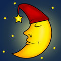 Sleeping moon illustration Stock Photos
