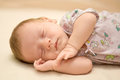 Sleeping newborn Stock Photography