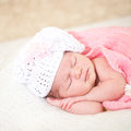 Sleeping  newborn baby (at the age of 14 days) Stock Photos