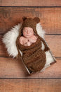 Sleeping Newborn Baby Boy Wearing a Bear Hat Royalty Free Stock Images