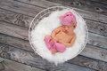 Sleeping Newborn Baby Girl Wearing Pink Sleeping Cap Royalty Free Stock Photo