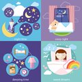 Sleeping and night time sweet dreams banners with sleep tight concepts icons in cartoon style little cute girl in Royalty Free Stock Image