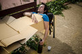 Sleeping off the hangover guy a tough on a park bench Royalty Free Stock Photography