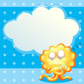 A sleeping orange monster in front of the empty cloud template illustration Royalty Free Stock Photos