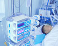 Sleeping patient in icu ward of hospital Royalty Free Stock Photography