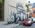 The sleeping pigs brussels belgium may graffity on house wall depicting family of such street art is very popular in city Royalty Free Stock Photography