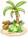 A sleeping pirate monster under the coconut tree illustration of on white background Royalty Free Stock Photography