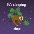 Sleeping sloth on tree branch . Cute cartoon character. Wild jungle animal collection. Baby education. Isolated. Flat Royalty Free Stock Photo