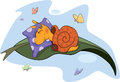 Sleeping snail cartoon on a pillow in an environment of butterflies Royalty Free Stock Photo