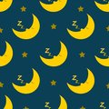 Sleeping and snoring moon seamless pattern