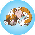 Sleeping soundly with dog vector illustration of baby boy saint bernard Stock Images