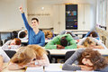 Sleeping students diligent pupil school classroom Stock Image