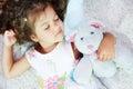 Sleeping with teddybear Royalty Free Stock Photos