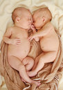 Sleeping twins are and hugging in soft focus Stock Photos