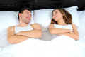 Sleeping young couple in love lying in bed Royalty Free Stock Photo