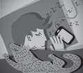 Sleeping young man with cat grayscale monochrome vector illustration eps Stock Images