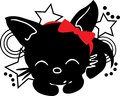 Sleepping Cat silhouette with bow Stock Image