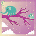 Sleepwalking dream world vector art of a elephant on a tree limb in a magical a colorful owl watches perched on a purple branch Royalty Free Stock Images
