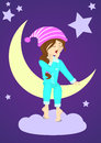 Sleepy girl on the moon in pajama with stars Royalty Free Stock Images