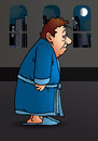 Sleepy illustration of a man wear pajamas in night on city background Stock Images