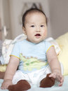 Sleepy infant in yawn asian Royalty Free Stock Images