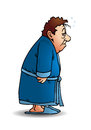 Sleepy man walk illustration of a wear pajamas walking in on white background Stock Photos