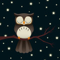 Sleepy owl illustration of a cute cartoon sleeping under a starry night sky Royalty Free Stock Photos