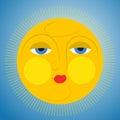 Sleepy sun yellow vector illustration Stock Image